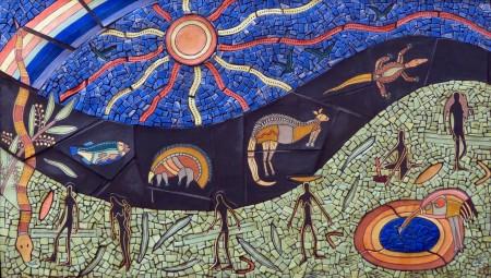 La storia di Ngilgi lo Spirito dell'Oceano raccontata dalla zia di Josh in questa opera d'arte